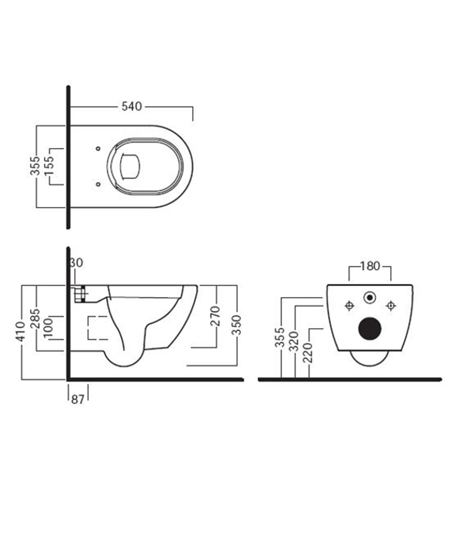 Sehr Cara Wand-Tiefspül-WC, ohne Spülrand, verdeckte Befestigung, weiss LU25