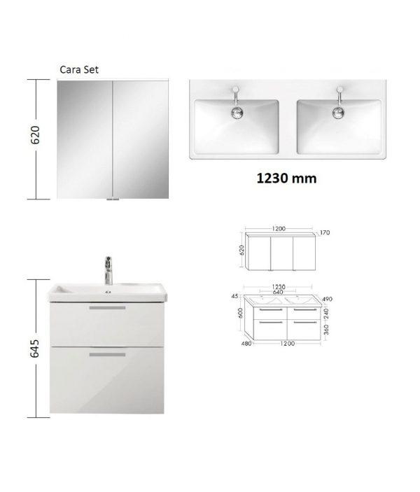 CARA Doppelwaschtisch Möbelset